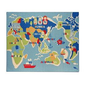 イケヒコ・コーポレーション:デスクカーペット ラグ 1畳 男の子 世界地図柄 『ワールド』 ブルー 約110×133cm 9800820