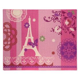 イケヒコ・コーポレーション:デスクカーペット 女の子 エッフェル柄 『ジェンヌ ツー』 ピンク 約133×170cm 4720739