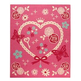 イケヒコ・コーポレーション:デスクカーペット 女の子 エハート柄 『キャリー ツー』 ピンク 約110×133cm 4720329