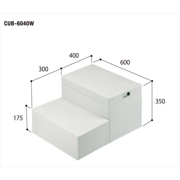 城東テクノ:ハウスステップ ボックスタイプ(600×400タイプ) 収納庫無し 小ステップ有り CUB-6040W