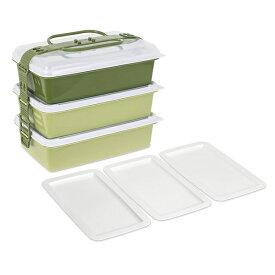 サンコープラスチック:ファミリーパック(取り皿3枚付き) アースグリーン 116772