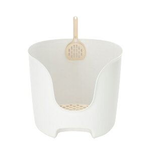 リッチェル:ラプレ 壁高ネコトイレ ホワイト 猫 トイレ 容器 オープン スコップ 高い 高さ 砂