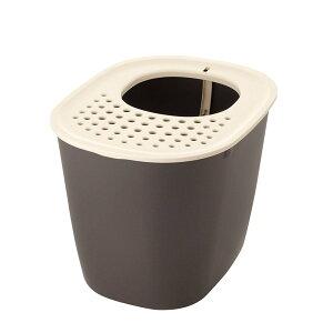 リッチェル:ラプレ 砂取りネコトイレ ダークグレー 猫 トイレ 容器 オープン スコップ 高い 高さ 砂