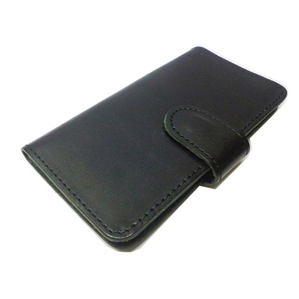 【代引不可】VEGETABLE-TANNED LEATHER:i-phone6/6S 手帳型ケース/栃木レザー「ジーンズ」 BK L-20330 BK
