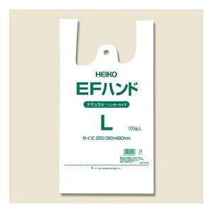 シモジマ:HEIKO レジ袋 EFハンド 西日本30号 東日本40号 ハンガータイプ L ナチュラル(半透明) 100枚 006645924 ゴミ袋 ごみ袋 ビニール袋 取っ手付き 取手付 手さげ袋 買い物袋