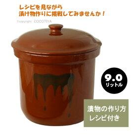 【送料無料】漬物容器 かめ 切立かめ(陶器製)9リットルお漬け物 容器漬物樽