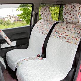 【ポイント5倍】ハロー キティ 前座席・後部座席(左右セパレートタイプ)フルセット/KTレトロポップ柄 シートカバー