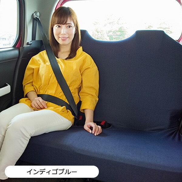 後部座席対応のベンチシートタイプリフィットシートカバー デニム風 1枚入