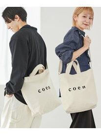 [Rakuten Fashion]【WEB限定カラー:シルバー】coen2WAYロゴトートバッグ coen コーエン バッグ ショルダーバッグ ホワイト シルバー ブラック ピンク カーキ ブルー