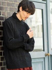 [Rakuten Fashion]ボリュームネックアランニット coen コーエン ニット 長袖ニット ブラック ベージュ【送料無料】