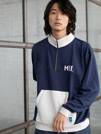 [Rakuten Fashion]【WEB限定】MEI(メイ)別注ハーフジップスウェット coen コーエン カットソー スウェット ネイビー ホワイト