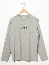 [Rakuten Fashion]coenチビロゴロングスリーブTシャツ coen コーエン カットソー Tシャツ グレー ホワイト