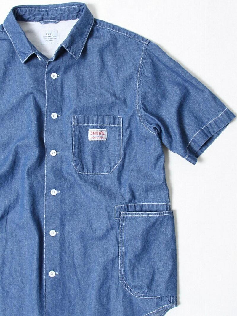 [Rakuten BRAND AVENUE]SMITH別注半袖ワークシャツ18SS coen コーエン シャツ/ブラウス【先行予約】*【送料無料】