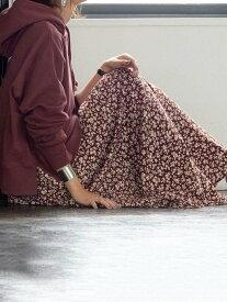 [Rakuten Fashion]【新色:ネイビー登場】プリントタックロングスカート coen コーエン スカート ロングスカート ブラウン ブラック ネイビー【送料無料】