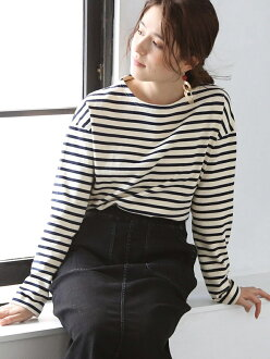 [Rakuten BRAND AVENUE] T-cloth horizontal stripe boat neck pullover coen Cohen cut-and-sew *