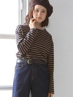 [Rakuten BRAND AVENUE] T-cloth horizontal stripe boat neck pullover coen Cohen cut-and-sew *