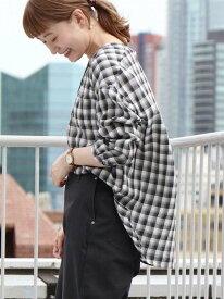 [Rakuten Fashion]【SALE/50%OFF】コットンリヨセルチェックブラウス coen コーエン シャツ/ブラウス 長袖シャツ ブラック ベージュ パープル【RBA_E】