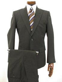 【アルチザン ARTISAN】 ストライプ シングル2ボタン スーツ ピークドラペル (メンズ) sizeS&M ブラック系 ●5MS5158● 【中古】