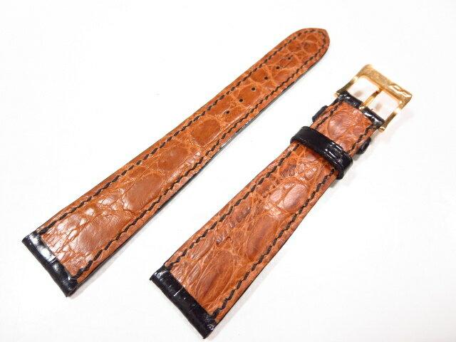 未使用 【カミーユフォルネ camille fournet】 両面クロコダイル 腕時計レザーベルト(メンズ) ブラック×ブラウン ★CC0203★【中古】