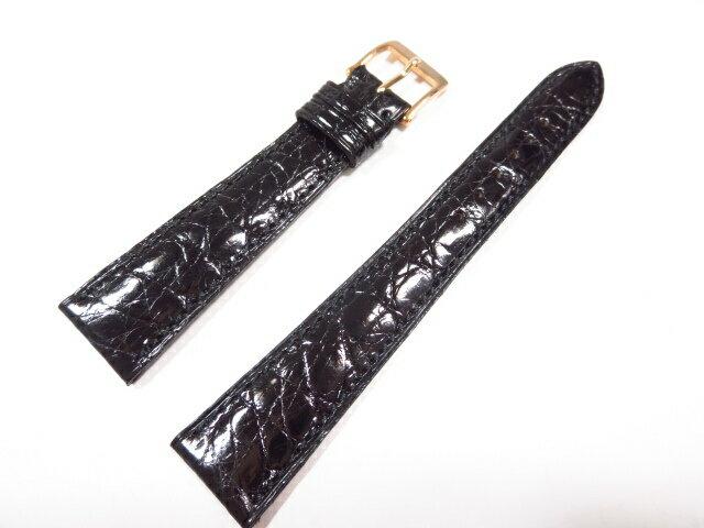 未使用 【カミーユフォルネ camille fournet】 クロコダイル 腕時計レザーベルト(メンズ) 黒×ゴールド ★CC0199★ 【中古】
