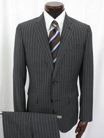 超美品 【ランバンオンブルー LANVIN on Blue】 2つボタン ストライプ柄 モヘヤ混 スーツ (メンズ) size48 グレー 116112 ◎3MS3584◎ 【中古】
