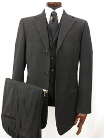 超美品 【ベルベスト Belvest】 シングル3つボタン ストライプ柄 3ピース スーツ (メンズ) size48 チャコールグレー 1513/009 ◎3MS3615【中古】