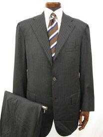 最高級 【キートン KITON】 3ボタン 段返り ストライプ柄 スーツ (メンズ) チャコールグレー size50 ◎1MS3483◎【中古】