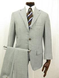 超高級 【キートン Kiton キトン】 シングル3つボタン 段返り カシミヤ90% シルク10% 織柄 スーツ (メンズ) ライトブルー系 ◎3HR545◎【中古】