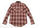 極美品 【ルイヴィトン LOUIS VUITTON】 ロゴ刺繍入り 長袖 ネルシャツ チェック柄 (メンズ) sizeM レッド系 MTSH12B3…