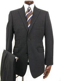超美品 【バーバリーブラックレーベル】 Super100's ウール素材 ストライプ柄 シングルスーツ (メンズ) size38R ブラック ◎7MS4035◎ 【中古】