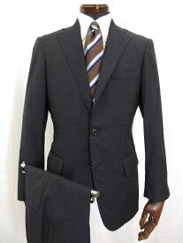【ビームスF BEAMS F】 グアベロ生地 3つボタン 段返り スーツ (メンズ) ストライプ柄 size ネイビー BF028S26X   ◎3MS3819◎ 【中古】