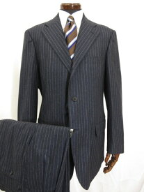 美品 【スーツカンパニー THE SUIT COMPANY】 3ボタン ストライプ柄 スーツ (メンズ) size185cm-4Drop ネイビー 0077341 ◎3MS3802◎【中古】