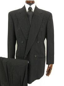【ジョルジオアルマーニ GIORGIO ARMANI】 ウール素材 ダブル4つボタンスーツ (メンズ) size48 ブラック D-TK6246 ◎7MS4093◎ 【中古】