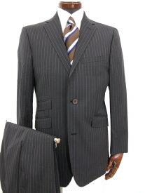 極美品 【バーバリーブラックレーベル】 2つボタン ストライプ柄 スーツ (メンズ) ネイビー size38L 濃紺 BMD27-409-29 ◎3MS4043◎ 【中古】