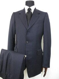 超美品 【ポールスミス COLLECTION】 SAVILE CLIFFORD 3ボタン ストライプ柄 スーツ (メンズ) sizeL ネイビー 裏地花柄♪■10MS7202■ 【中古】