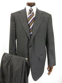 超美品 【キートン Kiton キトン】 最高級カシミヤ100% 3つボタン ストライプ柄 スーツ (メンズ) チャコールグレー size52 ●3MS4699●【中古】