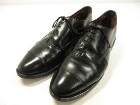 【アレンエドモンズ Allen Edmonds】キャップトゥ レザードレスシューズ (メンズ) ブラック size9.5D 紳士靴   ■1MZ065 【中古】