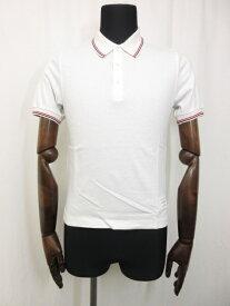 【トムブラウン THOM BROWNE】トリコロールカラー コットン 半袖 ポロシャツ (メンズ) size0 ホワイト ■11MT2582■【中古】