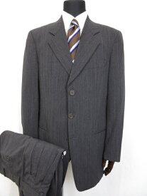超美品 【ジョルジオアルマーニ GIORGIO ARMANI】 3ボタン 織柄ストライプ スーツ (メンズ) size48REG チャコールグレー系 ■5MS7041■【中古】