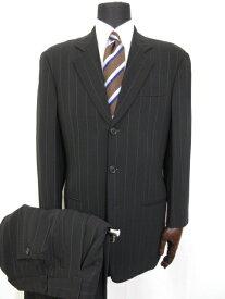 【ジョルジオアルマーニ GIORGIO ARMANI】 黒タグ シルク30% シングル3ボタン ストライプ柄 スーツ (メンズ) size44 ブラック■5MS7039■【中古】