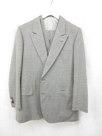 【ミラショーン Mila Schon】オーダー品 3ピース 2ボタン 織柄 スーツ (メンズ) size48/80 ライトグレー×ピンク ■11MS6723■ 【中古】