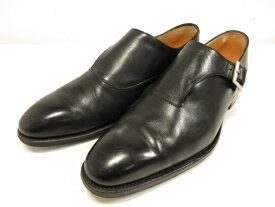 【perfetto ペルフェット】 プレーントゥ サイドストラップ 紳士靴 (メンズ) size6 ブラック 黒 0808 □8MZ1057□【中古】