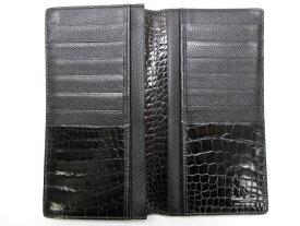 超美品 【カミーユフォルネ Camille Fournet】 二つ折り長財布 レザー×クロコダイル (メンズ) 黒 ブラック  □1ME3287【中古】