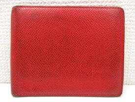 【Camille Fournet カミーユフォルネ】 上質革 二つ折りカードケース (メンズ) 赤 レッド   □1ME3284【中古】
