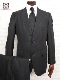 超美品 【ヒューゴボス HUGO BOSS】 微光沢 ストライプ柄 ウール素材 スーツ (メンズ) シングル 2ボタン size46 ブラック   □MS1544□ 【中古】
