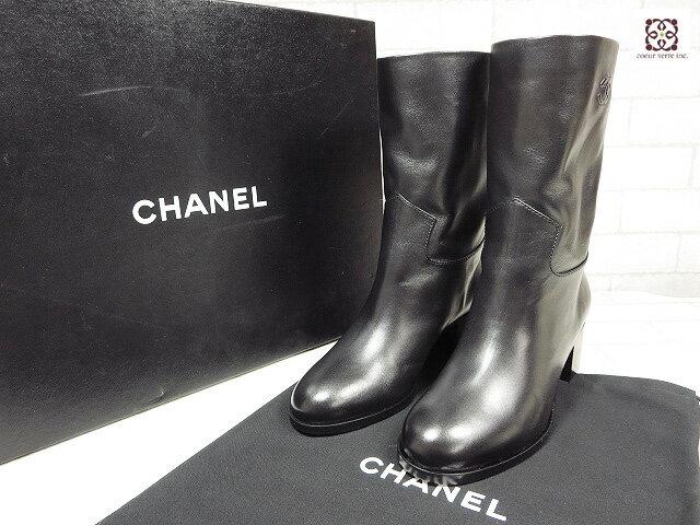 未使用 【シャネル CHANEL】 ココマーク 高級スムースレザー ブーツ (レディース) ブラック size38C   ◯LZ1095◯ 【中古】