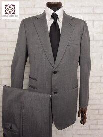 美品 【エルメス HERMES】 最高級生地 ヘリンボーン柄 2ボタン シングル スーツ (メンズ) ウール グレー size50      □MS1733□ 【中古】