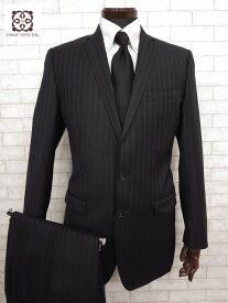 美品 【ドルチェ&ガッバーナ DOLCE&GABBANA】 MARTINI ストライプ柄 シングル スーツ (メンズ) 2ボタン ブラック size46    ◯MS1755◯ 【中古】