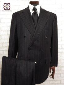 超美品 【キートン キトン Kiton】 カシミヤ100% ストライプ柄 ダブル スーツ (メンズ) ブラック size50 リデア取扱     ◯MS1856◯ 【中古】