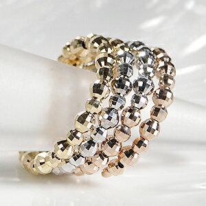 K18WG/YG/PG スリーカラー スパイラル 地金 リング【送料無料】可愛い ジュエリー ゴールド イエロー ホワイト ピンク 人気 指輪 個性的 品質保証書 ご褒美 プレゼント ギフト K18 18金 18k 3色 形状記憶